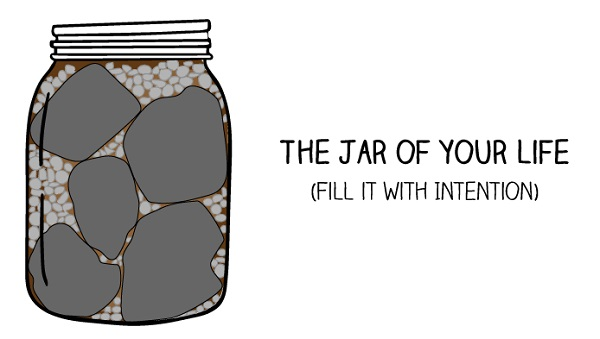 A Jar Filled with rocks sand pebble water life is a jar